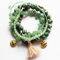 Stackable Multi Layered Stretchy Stone Beaded Tassel and Charm Bracelets