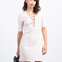 Lace-Up Ribbed Dress