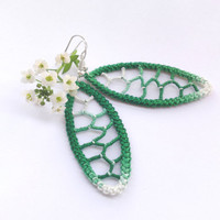 Green ombre leaf earrings, crochet dangle romanian point lace earrings, sewed earrings, handmade