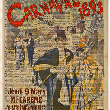 Carnaval Masquerade ball poster 1892 ,Theatre sign, vintage dictionary art print