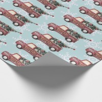 Vintage Red Toy Truck with a Christmas Tree Wrapping Paper