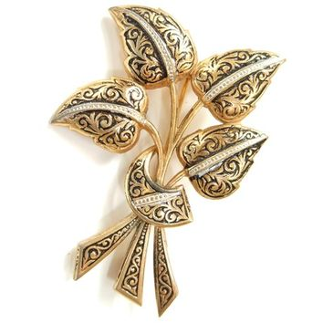 Vintage Leaf Brooch Damascene Pin Gold Silver Black Costume Jewelry
