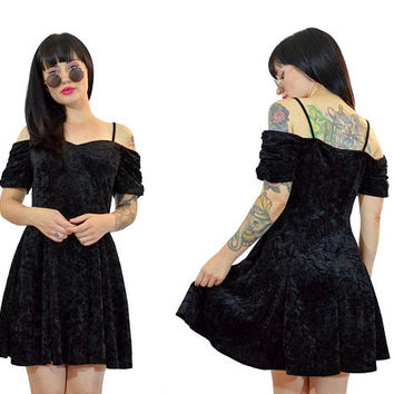 vintage 90s black velvet mini dress off shoulder gothic witchy babydoll dress vamp grunge medium