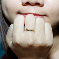 Antique Handmade - Any Font Available - Gift Ideas - Name Ring  -  18K Gold Plated