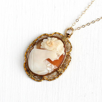Carved Cameo Necklace - Art Deco Vintage 10k Rosy Yellow Gold Filled Cameo Pendant - 1930s Oval Filigree Scalloped Jewelry 14k GF Chain