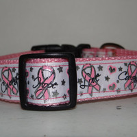 Dog Collar   * BREAST CANCER *  Hope * Love * Courage*   buckle dog  collar  OR  martingale collar