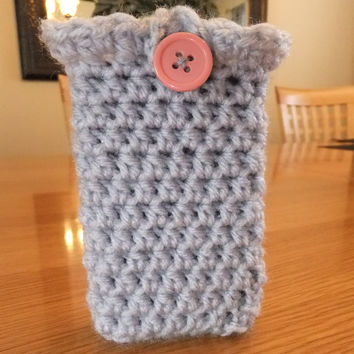 Button iphone Holder Crochet Pattern - PDF Crochet Pattern - iphone Case Crochet Pattern