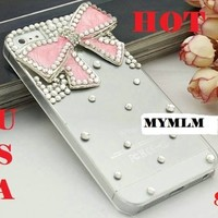 3d Bling Crystal Bow Transparent Case for Apple Iphone 4 and 4s (Pink):Amazon:Cell Phones & Accessories