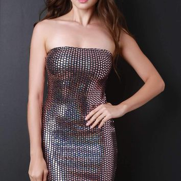 Holographic Scale Tube Mini Dress