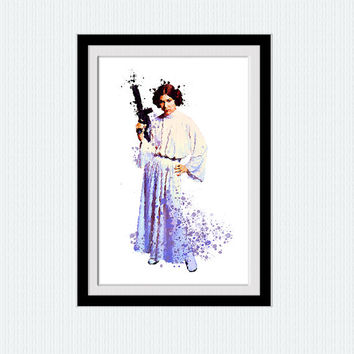 Star Wars Princess Leia watercolor print Princess Leia art poster Star Wars decor Home decoration Child room decor Kids room wall art W657