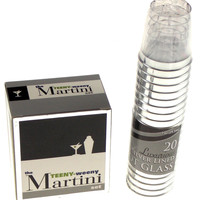 Lot Teeny-Weeny Martini Set 20 Silver Lined Shot Glasses Shaker Stirrer Recipes