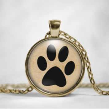 Animal Paw Glass Pendant Necklace - cats, dogs
