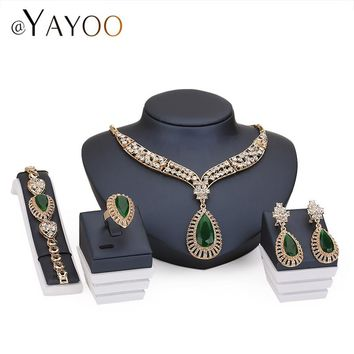 Gold Color Imitation Crystal African Beads Jewelry Sets For Women