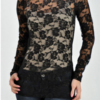 Robyn's Pick- Black Rosette Lace Top
