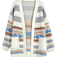Cream Geometry Pattern Pocket Open Front Cardigan