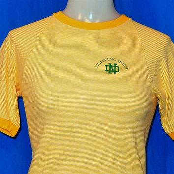 70s Notre Dame Fighting Irish Blue Bar Champion Striped Ringer t-shirt Youth Medium 10-12