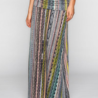 Lily White Linear Ethnic Print Maxi Skirt Multi  In Sizes
