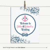 Pink and navy nautical welcome to our wedding sign printable | DIY, print or canvas - WLP00559