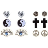 6pk Gold Cross, Peace and Heart Stud Earrings
