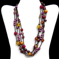 Burgundy Yellow Mauve Multi Strand Necklace, Unique Colorful Layered Necklace, Handmade Semiprecious Stone Jewelry