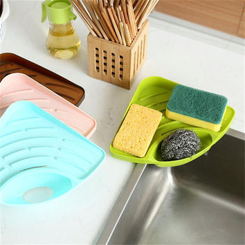 Wall Mounted Suction Sink Holder Sponge Organizer Kitchen Bathroom Storage Tool Household Practical Storage Shelf Rack