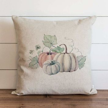 Watercolor Leaves and Pumpkins Pillow Covers