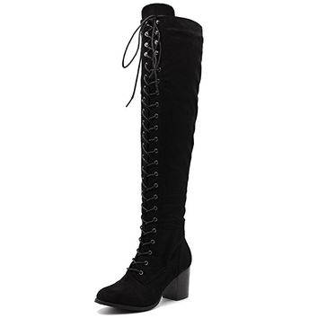 Women Shoe Lace-up Faux Suede Knee High Heel Zip Up Long Boots
