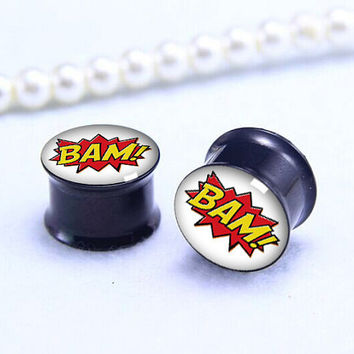 BAM ear Plug  ,pricing body gift , Screw on Gauge ear plugs , Black Titanium ear plugs ,