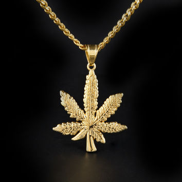 Men s 18k Real Gold Plated Dense Leaf Pendant Necklace 90263fd8a94a