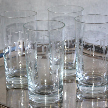 Etched Crystal Tumblers / Noritake Crystal / SET of 4 / Barware