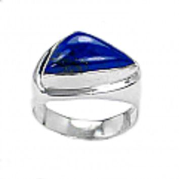 Sterling Silver and Lapis Lazuli Triangular Chevalier Ring