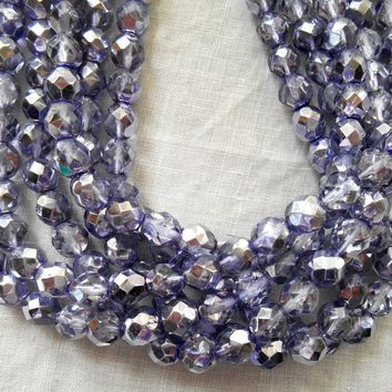 Lot of 25 8mm Violet Silver Mirror AB, faceted round firepolished Preciosa Czech glass beads, 11125
