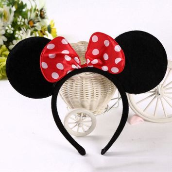 Black Mouse Ear Headband Cute Kids Dot Hair Bows Mickey Minnie Headbands Cloth Festival Party Hair Accessories Children Hairband
