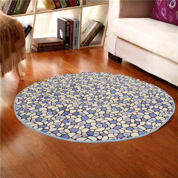 80x80cm Coral Velvet Bathroom Absorbent Carpet Anti Slip Doorsill Round Mat Rug