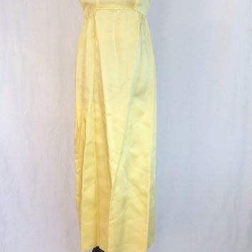 Vintage 50s 60s Petite Junior Canary Yellow Empire Waist Maxi Dress Young Lady Party Cocktail Wiggle Mad Men Small Prom Gown Jackie O
