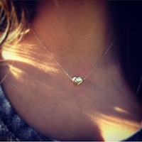 Sterling Silver Beaded Heart Necklace Small, Dainty, Petite, Perfect everyday necklace
