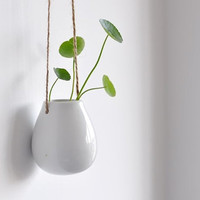 White Egg Shape Ceramic Pottery Hanging Planter Container -- succulent pot -- kitchen herb flower box
