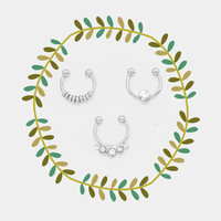 Round Fake Septum Piercing Set, Rhinestone Tribal Faux Nose Ring