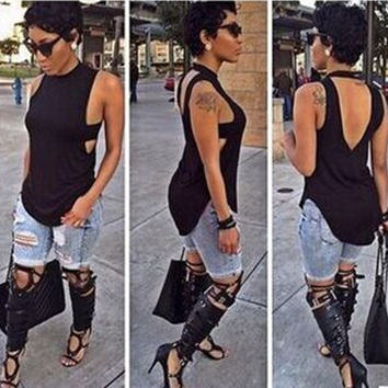 Fashion Solid Color Hollow Backless Turtleneck Sleeveless T-shirt Tops
