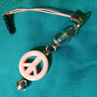 Cute Pink Peace Sign Cell Phone Dust Plug Charm