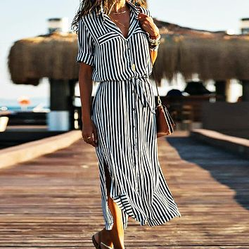 Fashion hot selling New Vertical Stripe Tie Waist Long Sleeve Shirt Dress Only one piece Orange