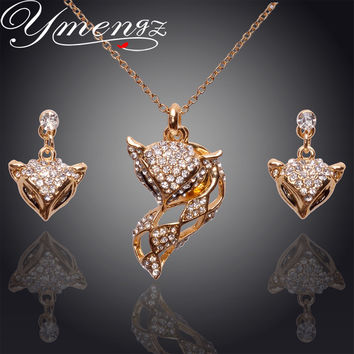 YMENGZ Fashion Gold Plate Earrings Necklace Set Charming Fox Ornaments Jewelry sets Elegance  Crystal Wedding Party Gift