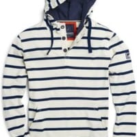 Sperry Top-Sider Stripe Pullover Hoodie VanillaIce/PeacoatNavy, Size XL  Men's