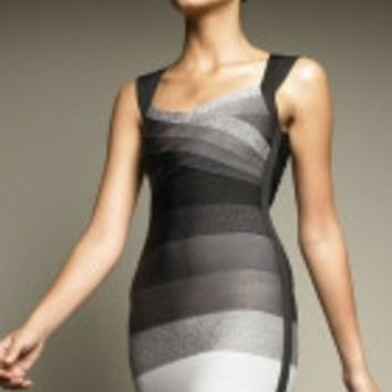 Black Gray White Ombre Halter Bandage Dress
