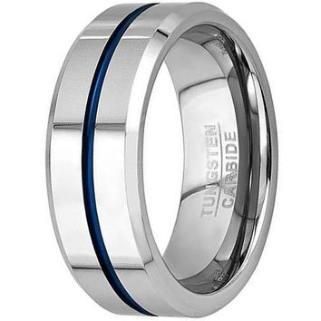 8mm Thin Blue Line Plated Tungsten Carbide Ring Wedding Band (Platinum)