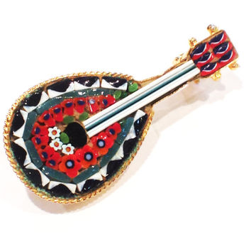 Vintage Micromosaic Mandolin or Guitar Pin, Signed, Italian