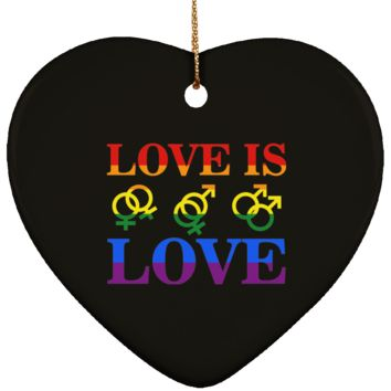 Gay Christmas Ornament Love Is Love Ceramic Heart Shape 3 Inches (Black)