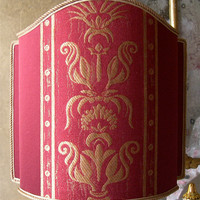"Half Lamp Shade Rubelli Red Lampas Fabric Gaspare Pattern Lampshade W11,8"" - Handmade in Italy"