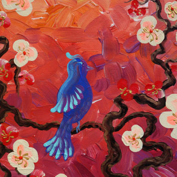 BIRD art on SAKURA TREE art love painting contemporary artwork red orange acrylic painting on canvas by Ksavera gift ideas for her decor