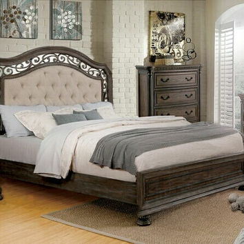 5 pc Persephone collection rustic natural finish wood with upholstered tufted headboard queen bedroom set
